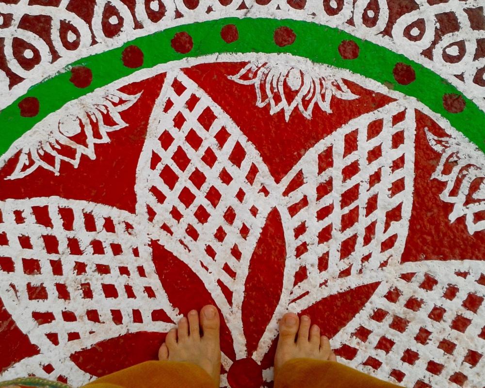 Auf den Boden gemaltes Mandala